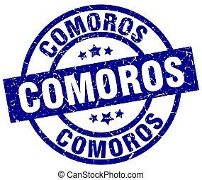 Comoros blue round grunge stamp