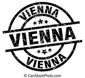 Vienna black round grunge stamp