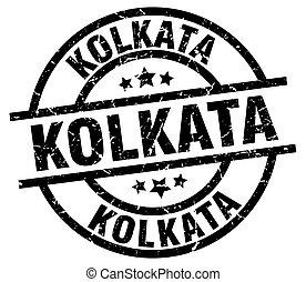Kolkata black round grunge stamp