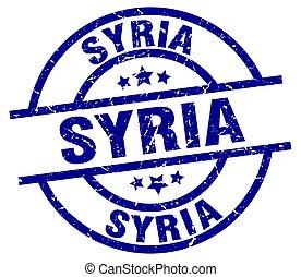 Syria blue round grunge stamp