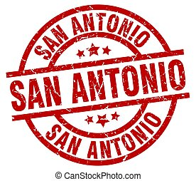 San Antonio red round grunge stamp