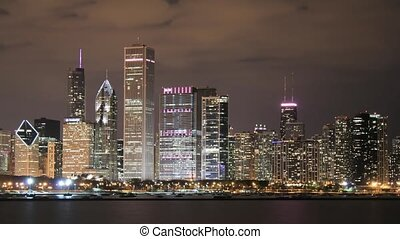 Chicago - Time lapse Chicago Skyline at night