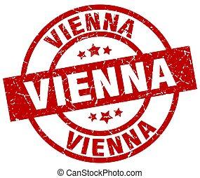 Vienna red round grunge stamp