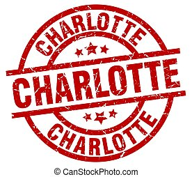 Charlotte red round grunge stamp
