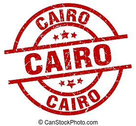 Cairo red round grunge stamp