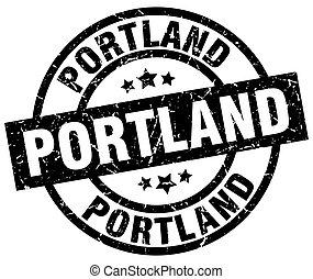 Portland black round grunge stamp