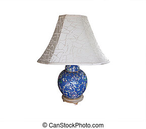 Table lamp blue floral with white shade