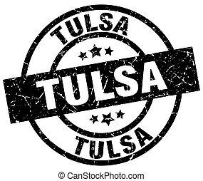 Tulsa black round grunge stamp