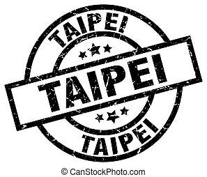 Taipei black round grunge stamp