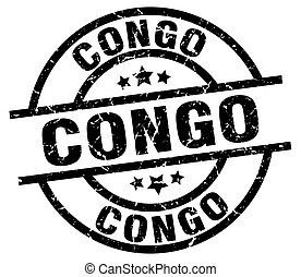 Congo black round grunge stamp