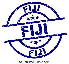 Fiji blue round grunge stamp