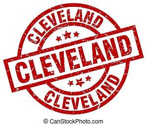 Cleveland red round grunge stamp