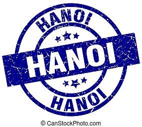 Hanoi blue round grunge stamp