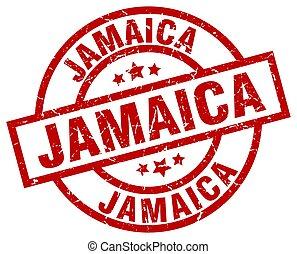 Jamaica red round grunge stamp