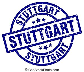 Stuttgart blue round grunge stamp