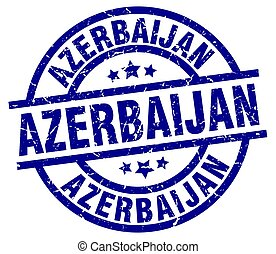 Azerbaijan blue round grunge stamp