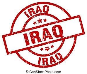 Iraq red round grunge stamp