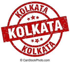 Kolkata red round grunge stamp