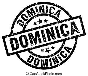 Dominica black round grunge stamp