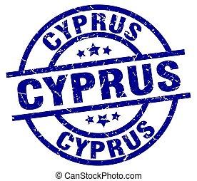 Cyprus blue round grunge stamp