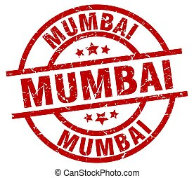Mumbai red round grunge stamp