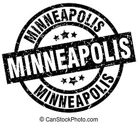 Minneapolis black round grunge stamp
