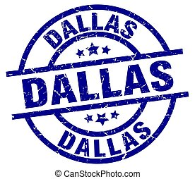 Dallas blue round grunge stamp
