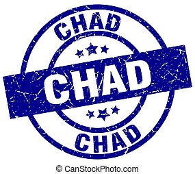 Chad blue round grunge stamp