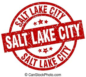 Salt Lake City red round grunge stamp