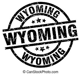 Wyoming black round grunge stamp