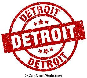Detroit red round grunge stamp