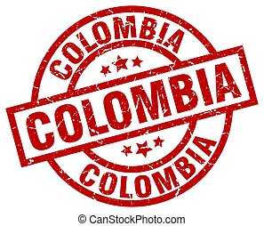 Colombia red round grunge stamp
