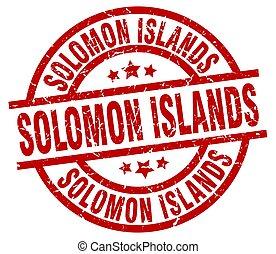 Solomon Islands red round grunge stamp