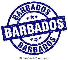 Barbados blue round grunge stamp