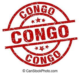 Congo red round grunge stamp