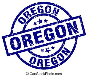 Oregon blue round grunge stamp