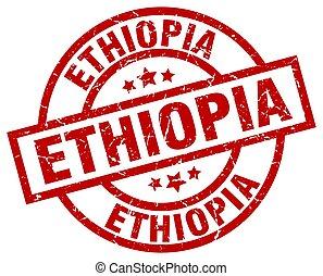 Ethiopia red round grunge stamp