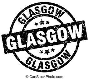 Glasgow black round grunge stamp