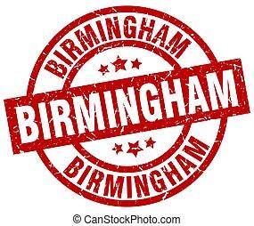 Birmingham red round grunge stamp