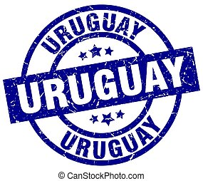 Uruguay blue round grunge stamp
