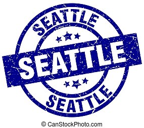 Seattle blue round grunge stamp