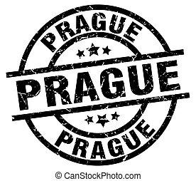 Prague black round grunge stamp