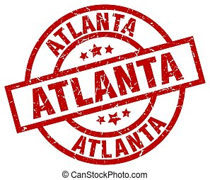 Atlanta red round grunge stamp