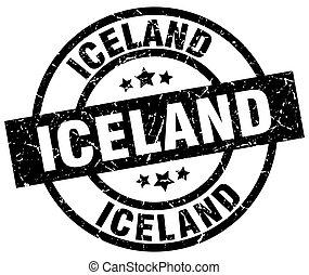 Iceland black round grunge stamp