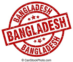Bangladesh red round grunge stamp