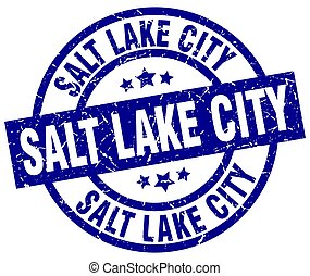 Salt Lake City blue round grunge stamp