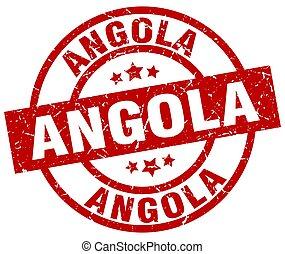 Angola red round grunge stamp