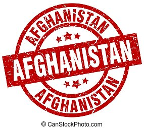 Afghanistan red round grunge stamp