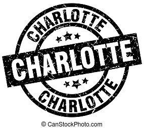 Charlotte black round grunge stamp
