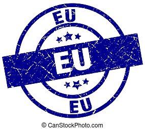 eu blue round grunge stamp